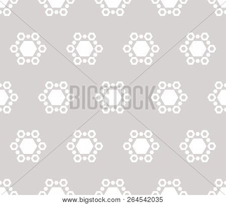 Subtle Winter Background With Snowflakes. Vector Abstract Minimalist Geometric Seamless Pattern With