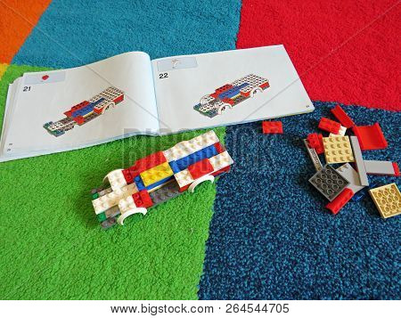 Bucharest, Romania - September 30, 2018 : Lego Blocks And Instructions - Building Lego Firetruck.