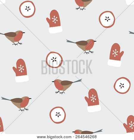 Cute Festive Winter Seamless Pattern With Hand Drawn Finch Birds, Sliced Apples And Gloves. Christma