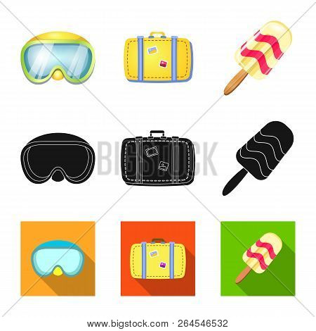 Vector Design Of Equipment And Swimming Icon. Collection Of Equipment And Activity Stock Vector Illu