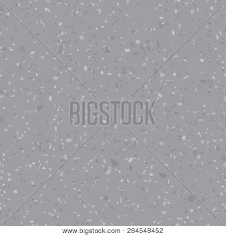 Vector Concrete Floor Texture. Terrazzo Flooring Seamless Pattern. Gray Background Surface With Natu