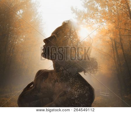 Girl With Tree Inside. Concept Of Autumn. Double Exposure