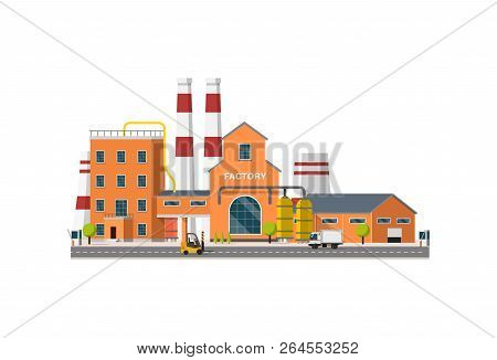 Vector Flat Industrial Factory On White Background. Industrial Revolution 4.0 . Manufacturing Manufa
