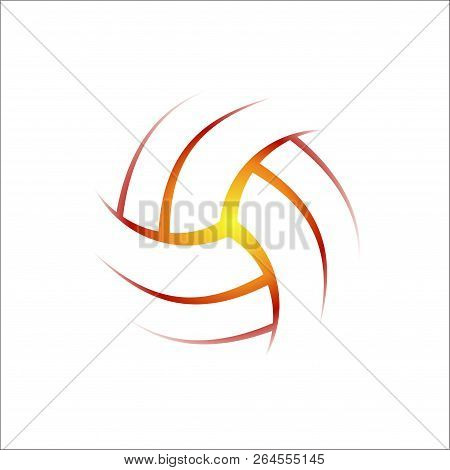 Shining Volleyball Ball Silhouette Isolated On White Background