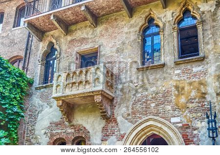 The Famous Balcony Of Romeo And Juliet At Casa Di Giulietta, In Verona, Italy