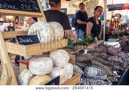 Ile Rousse, Corsica - 30th September 2018. Locally Made Cheeses And Cured Meats Are Displayed For Sa
