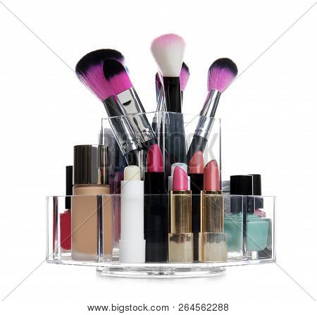 Set Of Makeup Cosmetic Products In Organizer On White Background
