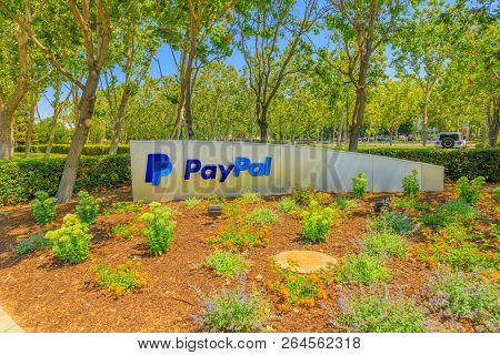 San Jose, California, United States - August 12, 2018: Paypal Sign At Paypal Hq. Paypal Is A Multina