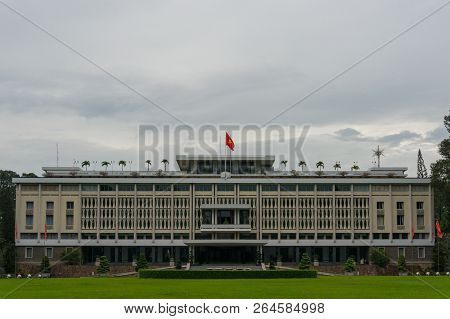 Ho Chi Minh City, Vietnam - August 23, 2017: Independence Palace Building Exterior In Hcmc In Vietna