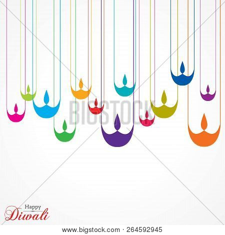 Poster For Happy Diwali With Beautiful Design Illustration Stock Vector