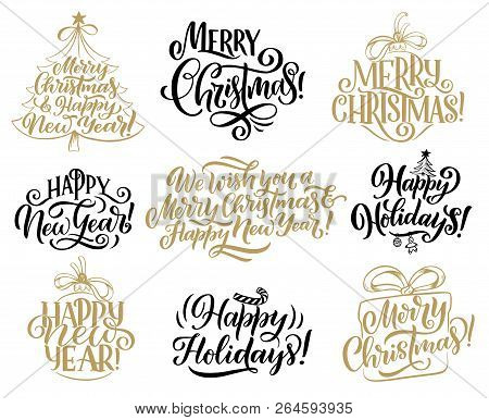 Merry Christmas Calligraphy.Merry Christmas Happy Vector Photo Free Trial Bigstock