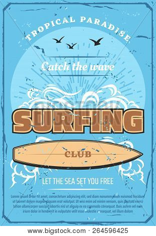 Surfing Sport Retro Poster, Summer Beach Surf Club. Tropical Ocean Waves With Surfboard, Sunset And