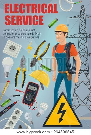 Electrical Service. Vector Electrician, Electric Equipment And Tools. Electrical Engineer Or Lineman