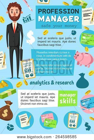 Vector Business Man, Finance Executive And Office Manager Occupation. Corporate Worker Or Employee I