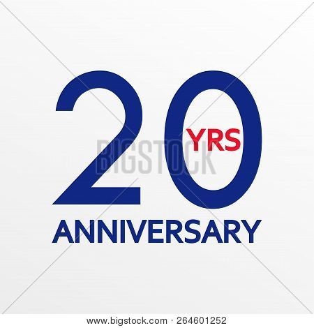 20 Years Anniversary Icon. Anniversary Decoration Template. Celebrating And Birthday Emblem. Vector