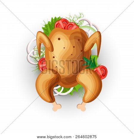 Vector Cartoon Chicken Grill With Vegetables Icon. Chicken Roasted Grill Icon With Greens And Onion