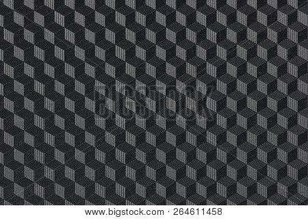 3d Cubic Pattern, Abstract Geometric Black Background