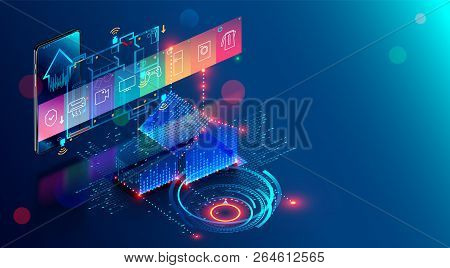 Smart Home Abstract Background. Smartphone App Of Automation Internet Of Things Of Intellectual Hous