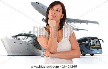 A woman with a dreamy expression with a round the world travel background