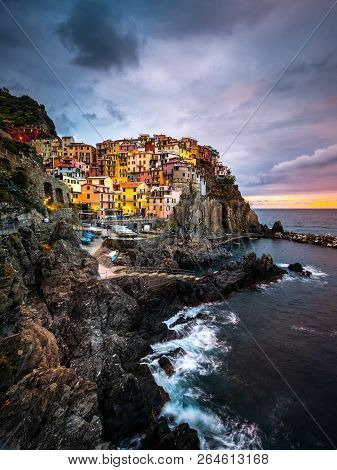 Manarola A Beautiful Small Town In The Province Of La Spezia, Liguria, North Of Italy And One Of The