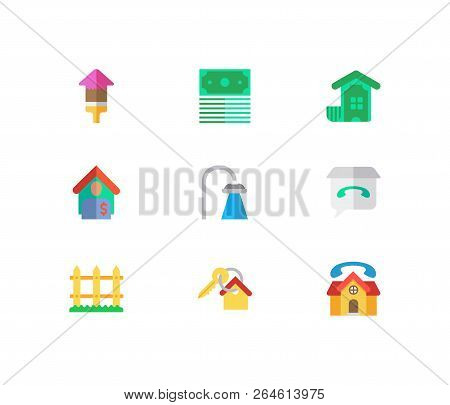 Building Icons Set. Key And Building Icons With Shower, Tenant And Money. Set Of Talk For Web App Lo