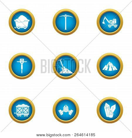 Mineral Resource Icons Set. Flat Set Of 9 Mineral Resource Vector Icons For Web Isolated On White Ba