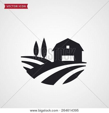 Farm Symbol With Barn, Trees And Fields. Farmhouse Logo. Rural Landscape. Vector Icon.