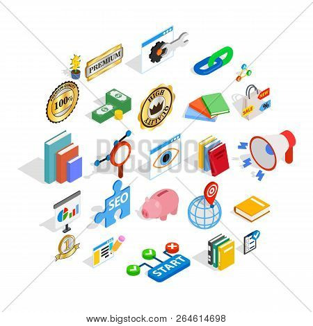Economy Icons Set. Isometric Set Of 25 Economy Vector Icons For Web Isolated On White Background