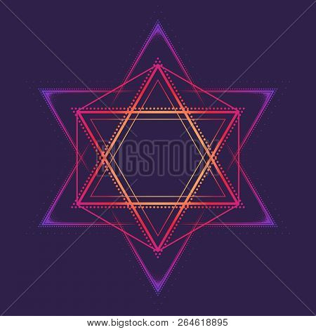 Hexagram. Multicultural Symbol Representing Anahata Chakra In Yoga And A Star Of David. Line Drawing