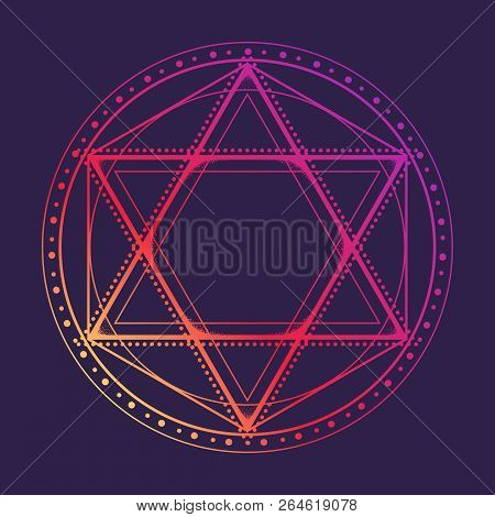 Hexagram Encompassed With A Circle. Multicultural Symbol Representing Anahata Chakra In Yoga And A S