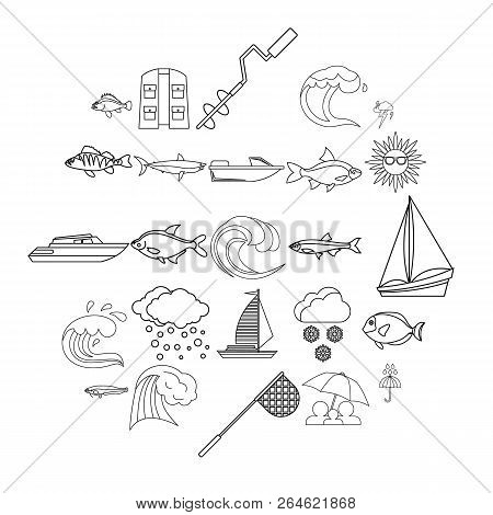 Wet Icons Set. Outline Set Of 25 Wet Vector Icons For Web Isolated On White Background