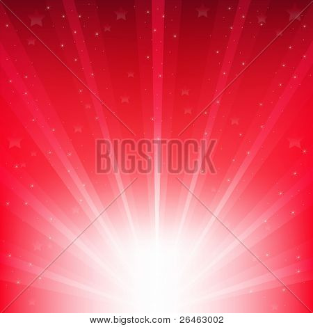 Abstract Vector Red Background With Rays And Stars