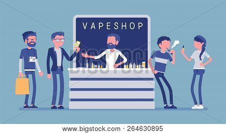 Vape Shop Business. Group Of Urban Hipsters In Store Selling Electronic Cigarette Products, Selectio