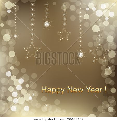 Happy New Year Background With Stars And Text, Vector Illustration