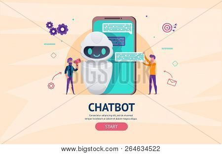 Chatbot Future Concept. Helping Bot In Smartphone. Artificial Intelligence With Little People Chatti