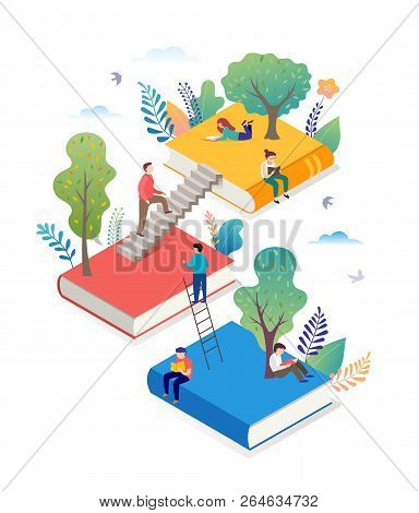 Book Festival Concept - A Group Of Tiny People Reading A Huge Open Book. Vector Illustration, Poster