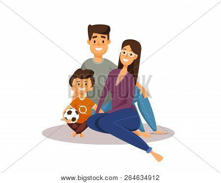 Happy Family. Cartoon Characters. Father, Mother And Son With Football Ball. Smiling Happy Group Of