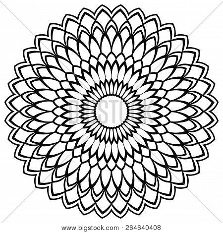 Outline Mandala. Ornamental Round Doodle Flower Isolated On White Background. Geometric Circle Eleme