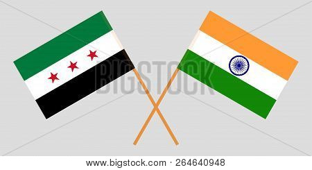 Syria Opposition And India. Syrian National Coalition And Indian Flags. Official Colors. Correct Pro