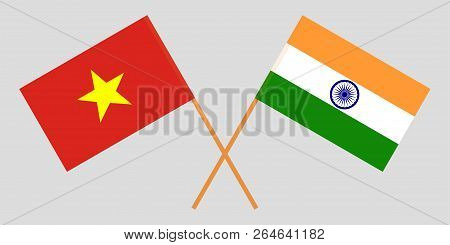 Socialist Republic Of Vietnam And India. The Vietnamese And Indian Flags. Official Colors. Correct P