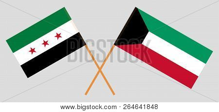 Kuwait And Syria Opposition. Kuwaiti And Syrian National Coalition Flags. Official Colors. Correct P
