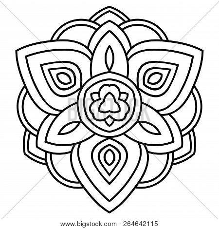 Outline Mandala. Ornamental Round Doodle Flower Isolated On White Background. Geometric Circle Eleme