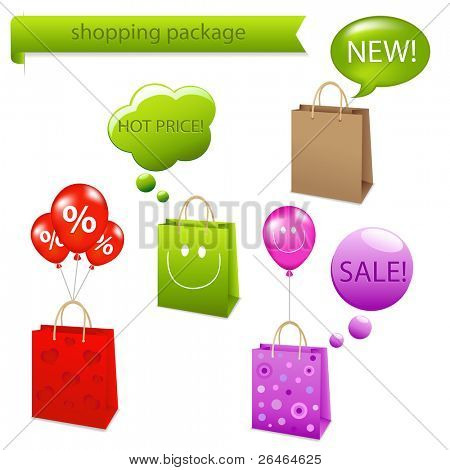 4 Shopping Package  With Dialog Bubble, Isolated On White Background
