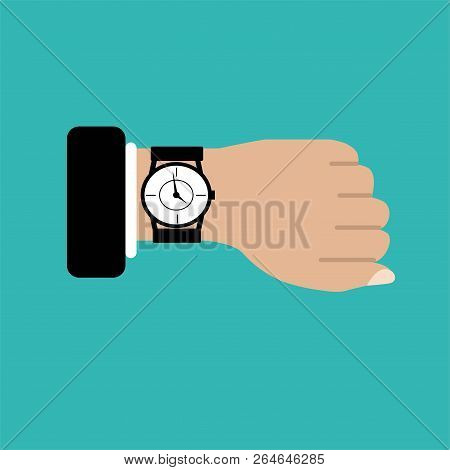 Wristwatch On The Hand Of Businessman In Suit Isolated On Blue Background.man With Clock.hand With C
