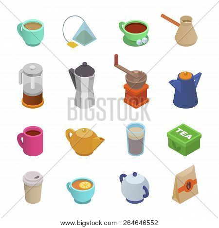 Coffee Cup Vector Teacup Icon Isometric Coffeecup And Mug Espresso Beverages In Coffeeshop Illustrat