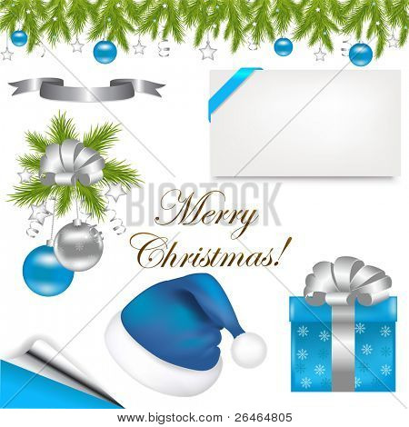 Christmas Set From Cap Of Santa Claus, Branch With New Year's Sphere And Blank Gift Tag, Isolated On White Background, Vector Illustration