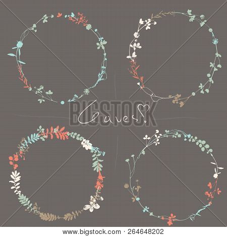 Set Of Vintage Wreaths In Natural Plant, Flowers And Leaves. Realistic Leaf In Round Circle Form. In