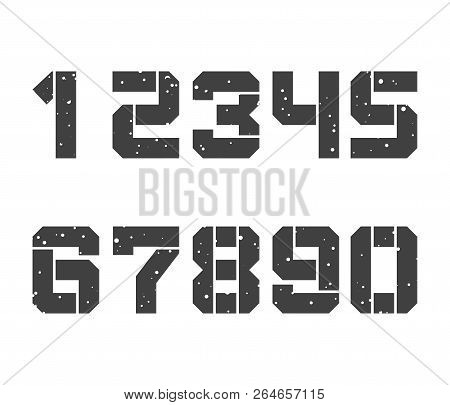 Stencil-plate Numbers In Grunge Style. Vector Typeset Design Isolated On White Background