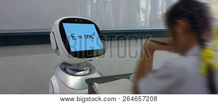 Smart Education Industry Futuristic Concept, Robotic Assistant With Artificial Intelligence Program