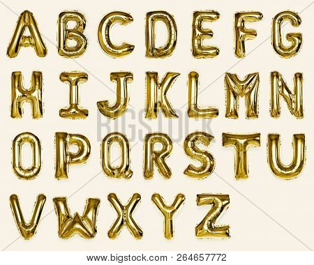 Set of gold capital A-Z alphabet balloons